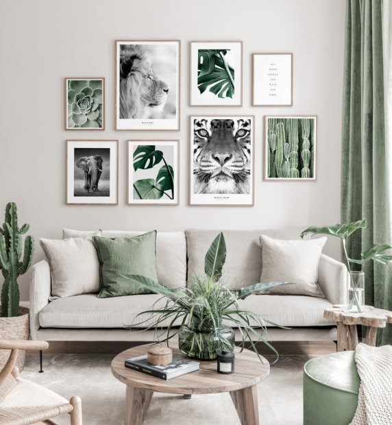 Green nature inspired gallery wall animal posters botanical oaken frames