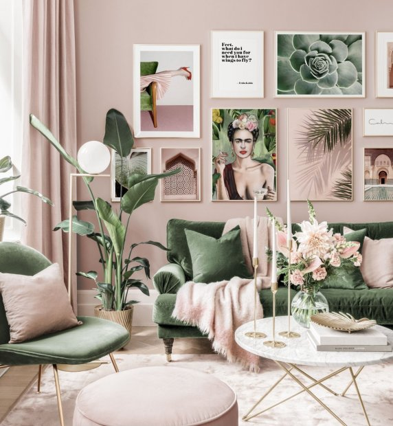 Stylish gallery wall art pink green living room Frida poster golden frames