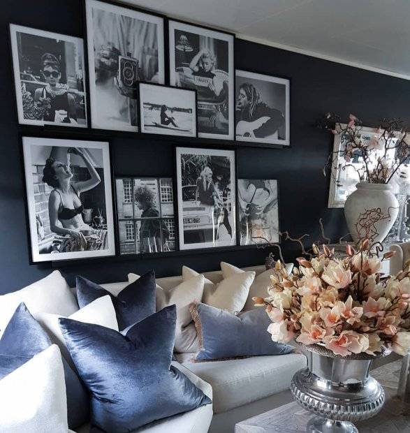 Cool black and white gallery wall with iconic posters