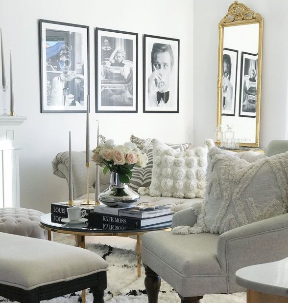 Iconic black white posters gallery wall roger moore audrey hepburn marilyn monroe