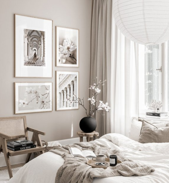 Stunning architecture posters white flowers scandinavian interior oaken frames
