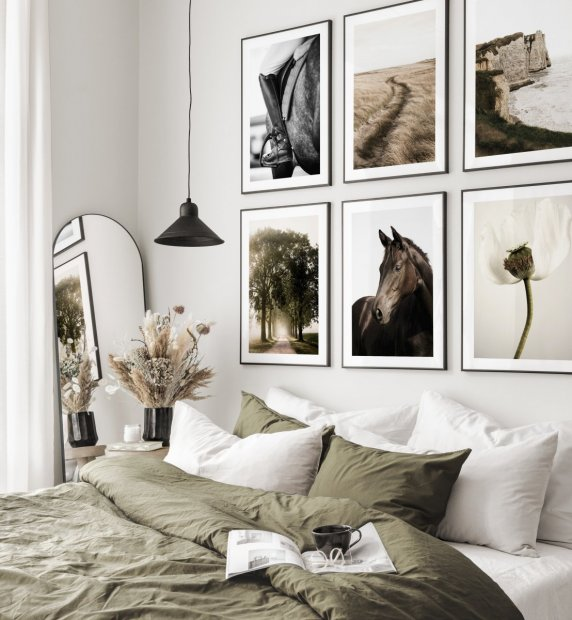 Beautiful horseriding inspired gallery wall nature posters black metal frames