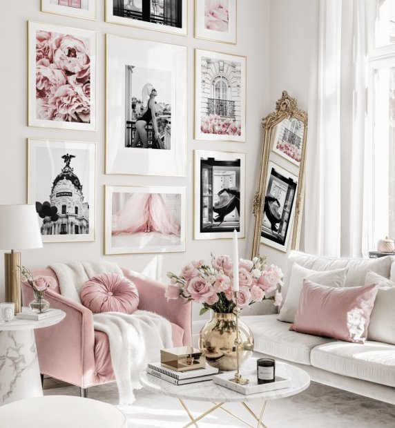 Trendy pink gallery wall fashion posters flower posters gold frames