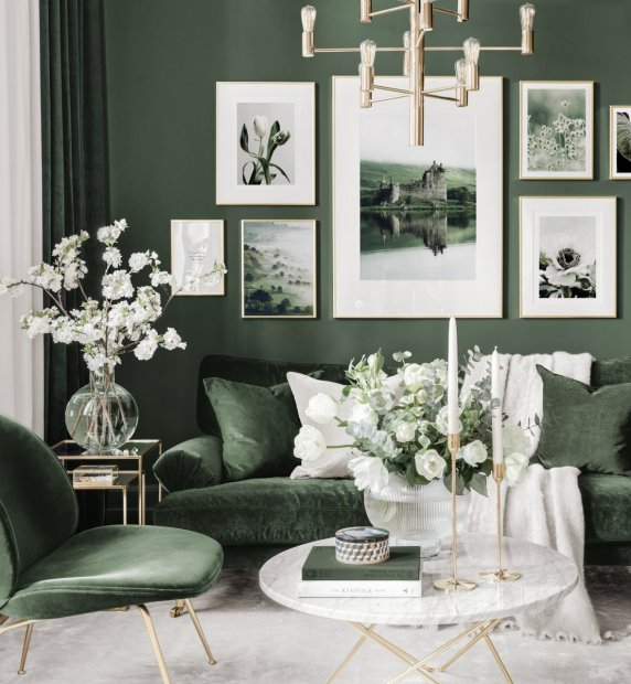 Scottish gallery wall green living room nature posters golden frames