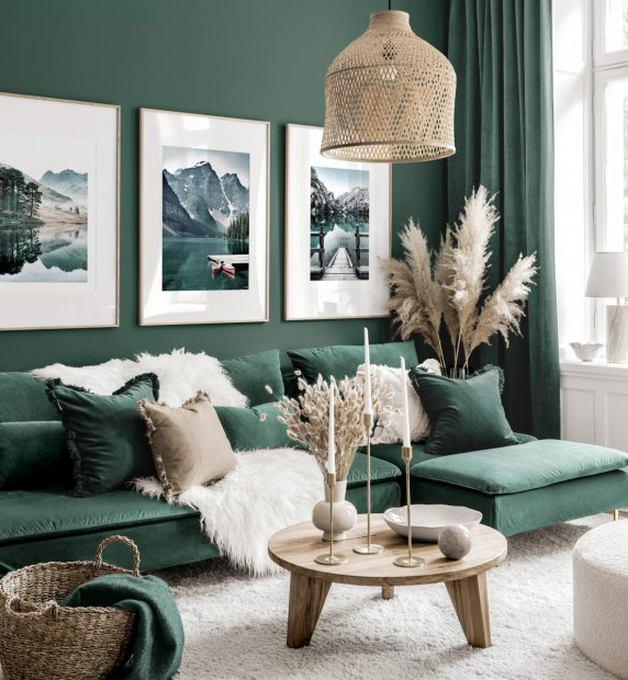 Stunning gallery wall art green living room nature posters oak frames