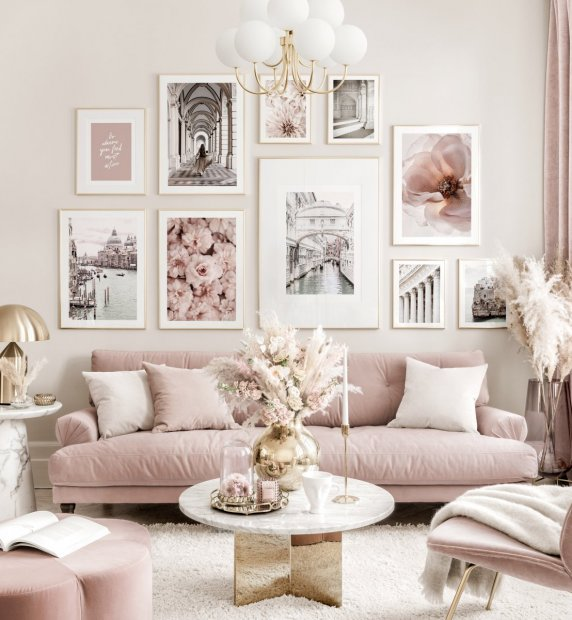 Elegant pink gallery wall art summer posters flower prints golden frames