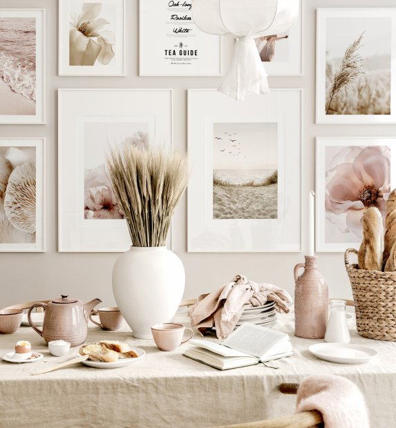 Calm beach gallery wall pink beige dining room white wooden frames