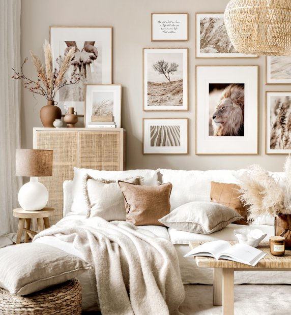 Neutral gallery wall nature prints beige living room oak frames