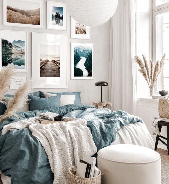 Calming gallery wall art blue beige bedroom nature posters white wooden frames
